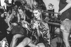 Models backstage at Diane Von Furstenberg Spring 2015